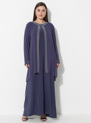 Indigo - Blue - Unlined - Crew neck - Muslim Plus Size Evening Dress