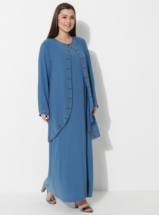 Blue - Unlined - Crew neck - Muslim Plus Size Evening Dress