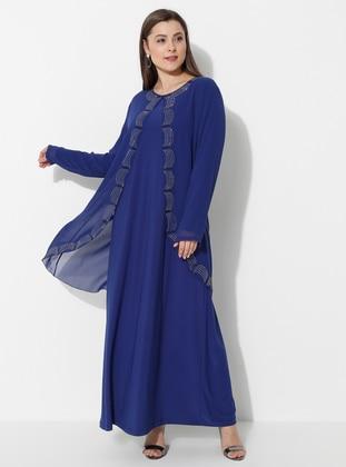 Saxe - Unlined - Crew neck - Muslim Plus Size Evening Dress