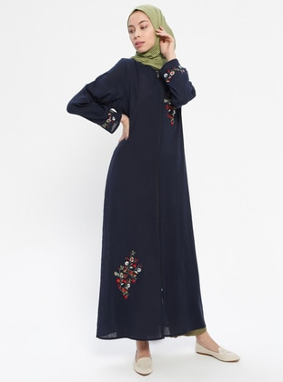 Navy Blue - Unlined - Crew neck -  - Abaya