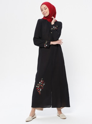 Black - Unlined - Crew neck -  - Abaya