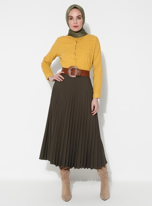Khaki - Fully Lined - Skirt