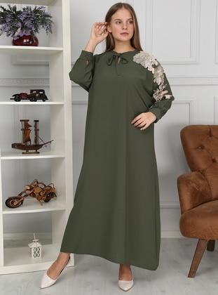 Mint - Unlined - Crew neck - Acrylic - Muslim Evening Dress