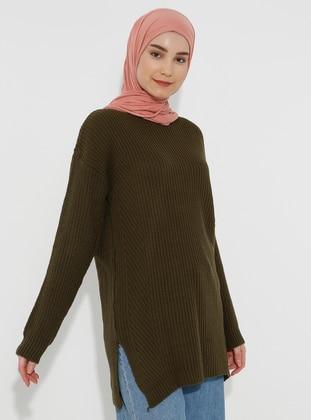 Khaki - Crew neck - Acrylic -  - Knit Sweaters - HÜMA SULTAN