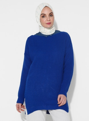 Blue - Saxe - Crew neck - Acrylic -  - Knit Sweaters