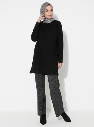 Black - Acrylic -  - Knit Pants - HÜMA SULTAN