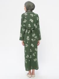 Khaki - Multi - Crew neck - V neck Collar - Unlined -  - Dress