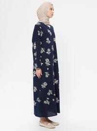 Navy Blue - Multi - Crew neck - V neck Collar - Unlined -  - Dress
