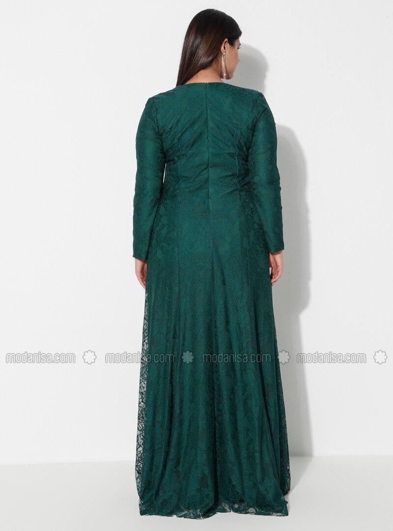 Grün - Mit Innenfutter - Rundhalsausschnitt - - Abendkleid G.G.