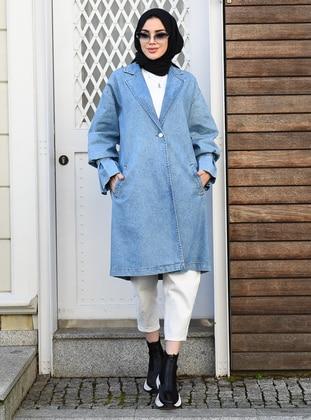 Blue - Unlined - Shawl Collar - Denim -  - Jacket