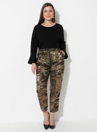 Gold - Multi - Plus Size Pants
