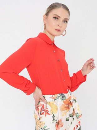 Red - Coral - Point Collar - Blouses