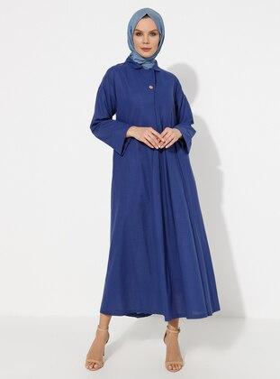 Navy Blue - Point Collar - Unlined -  - Dress