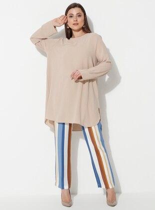 Blue - Stripe - Plus Size Pants