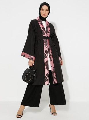 Pink - Black - Unlined - Abaya