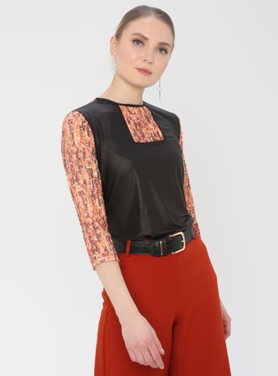 Multi - Orange - Multi - Crew neck - Blouses