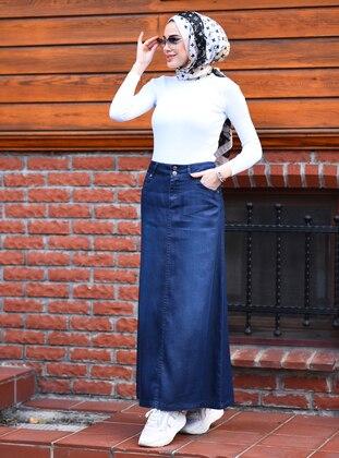 Navy Blue - Unlined - Modal -  - Skirt
