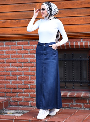 Navy Blue - Unlined - Modal -  - Skirt