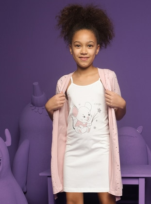 Crew neck -  - Cream - Girls` Pyjamas