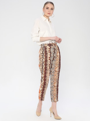 Brown - Multi - Viscose - Pants