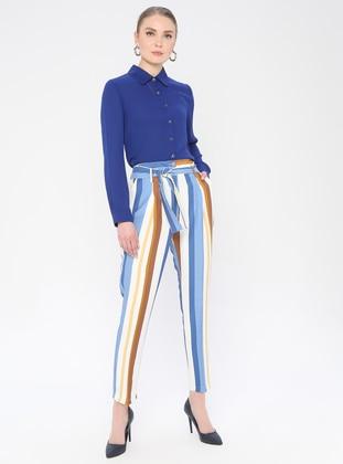 Navy Blue - Blue - Stripe - Pants