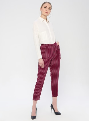 Plum - Stripe - Viscose - Pants