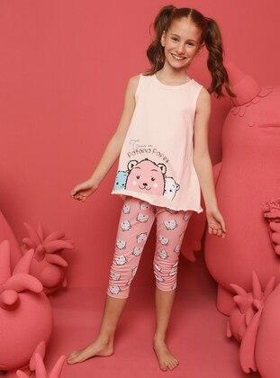 Crew neck -  - Salmon - Girls` Pyjamas
