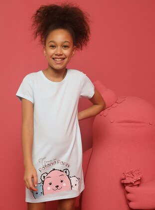 Crew neck -  - Blue - Girls` Pyjamas