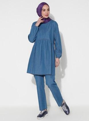 Indigo - Blue - Unlined - Denim -  - Suit