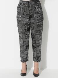 Gray - Silver tone - Multi - Plus Size Pants