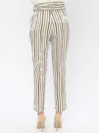 Khaki - Stripe - Viscose - Pants