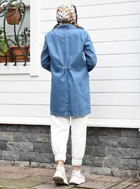 Blue - Unlined - V neck Collar - Denim -  - Jacket