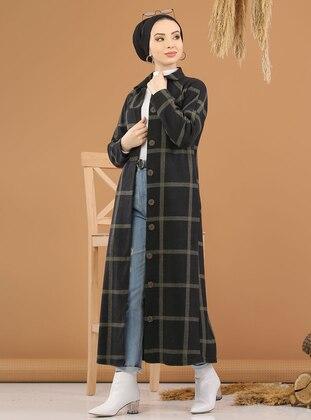 Khaki - Plaid -  - Knit Cardigans - Tofisa