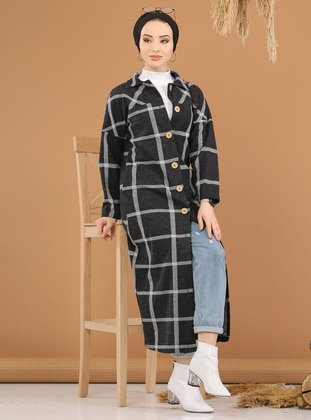 Gray - Plaid -  - Knit Cardigans - Tofisa