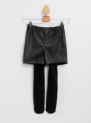 Black - Girls` Shorts - DeFacto