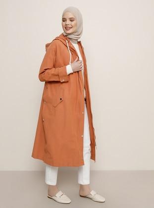 Orange - Unlined - Viscose - Trench Coat - Benin