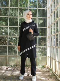 Black - - Viscose - Tracksuit Set - Sports