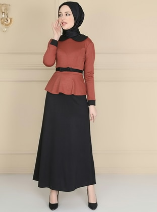 Terra Cotta - Round Collar - Unlined - Dress