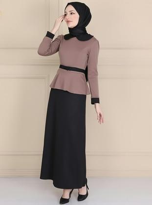 Mink - Round Collar - Unlined - Dress