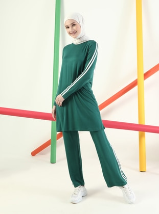 Green - Viscose - Crew neck - Tracksuit Set