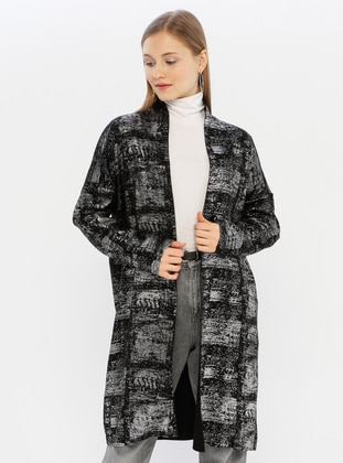 Silver tone - Black - Unlined - Acrylic - Knit Cardigans