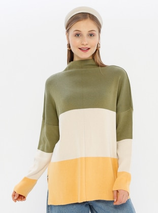 Khaki - Unlined - Polo neck - Acrylic -  -  - Knit Sweaters