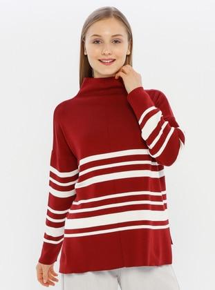 Maroon - Polo neck - Acrylic -  - Knit Sweaters