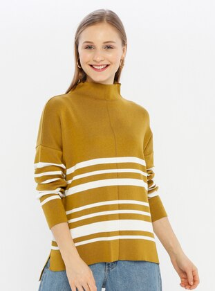 Green - Polo neck - Acrylic -  -  - Knit Sweaters