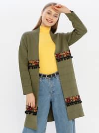 Khaki - Unlined - Acrylic -  - Knit Cardigans