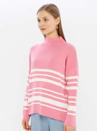 Pink - Polo neck - Acrylic -  -  - Knit Sweaters
