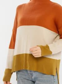 Copper - Beige - Unlined - Polo neck - Acrylic -  -  - Knit Sweaters