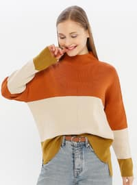 Copper - Beige - Unlined - Polo neck - Acrylic -  -  - Knit Sweaters