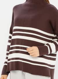Brown - Polo neck - Acrylic -  -  - Knit Sweaters