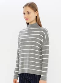 Gray - Unlined - Polo neck - Acrylic -  - Knit Sweaters